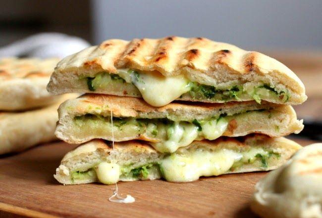 Vintage Kitchen Notes: Mozzarella and Pesto Grilled Naan Bread #TwelveLoaves