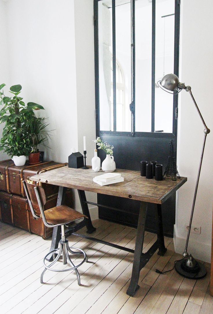 Desk + leather luggage +leather seat + metal lamp & legs + plants!