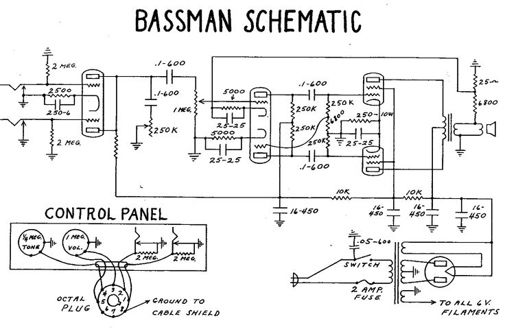 Fender Bassman Tube Amp Schematic  Model 5B6 | Guitar