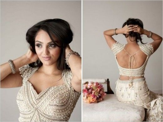 The most beautiful saree blouse back design in white just amazing design and so beautiful