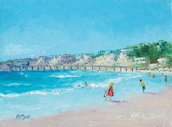 San Diego Beach Pier, California beach, canvas art, beach art, beach decor…