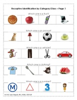 Free receptive language worksheet.  Identification of items from a field of 4 when given an object category.