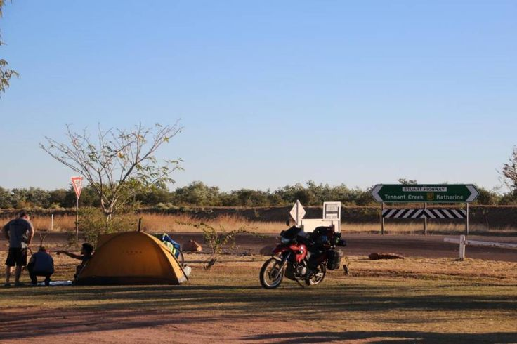 The ultimate road-trip a motorbike and a tent respect! Renner Springs Caravan in the NT.  You can see more at http://ift.tt/2kyYXcv  #rennerspringscaravanpark #rennersprings #nt #camper #camping #roadtrip #outdoors #outback #tent #motorbike