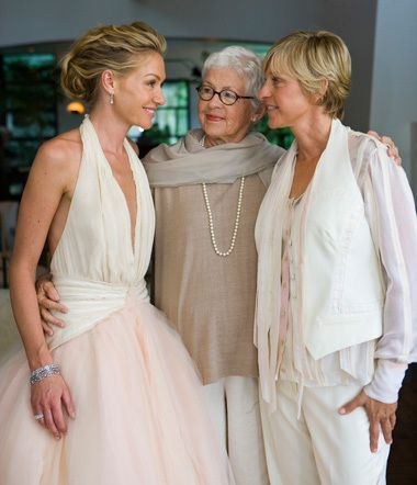 Ellen and Portia's Wedding Day...I love that you can see how much they love eachother and you can see a mother accepting her child for who she is and loving her, just a lovely photo. Let this be an example