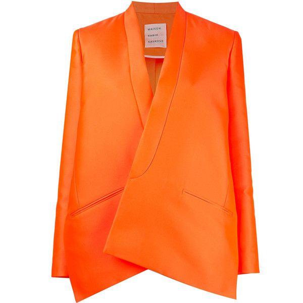 Maison Rabih Kayrouz oversized blazer ($2,420) ❤ liked on Polyvore featuring outerwear, jackets, blazers, orange, oversized blazer, orange blazer, orange jacket, blazer jacket and orange blazer jacket