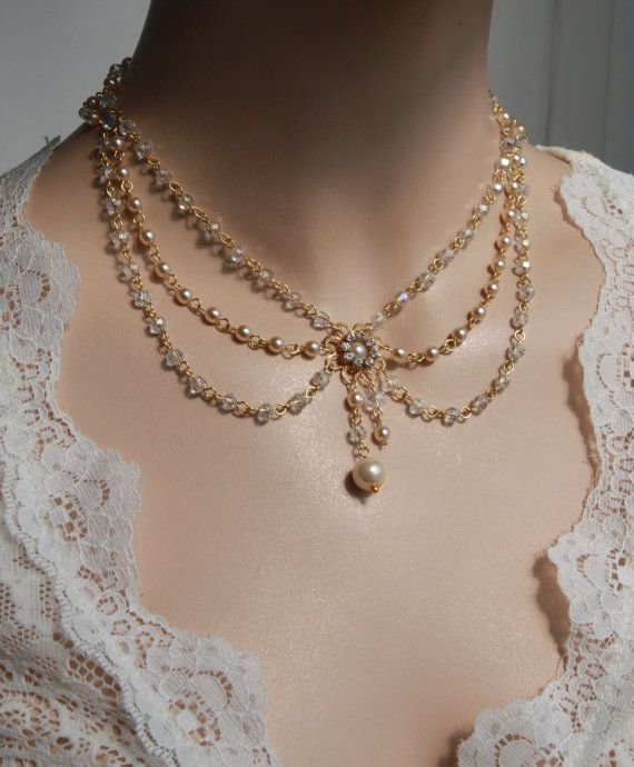 Victorian Bridal Necklace Vintage Necklace Swarovski Crystals Ivory Pearls Art Deco Rhinestone And Pearls Wedding Necklace - Lacey