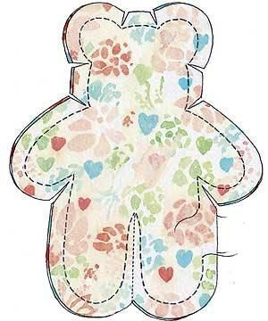 Tiny teddies to sew :: http://allaboutyou.com. You could fill these with a tiny bit of wadding to make puff teddies and applique them to the centre of blocks.???