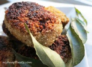 ground beef and sweet potato cutlets coated with almond meal and shallow fried. absolutely awesome.