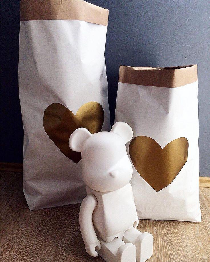 Эко-мешочки с принтом сердечка: