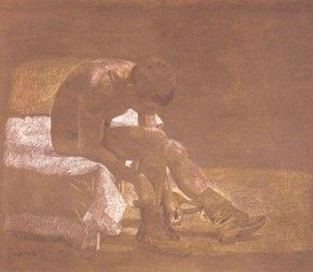 Λουόμενος δένει τις αρβύλες του, Villeneuve-les-Sablons, 1980. Παστέλ σε χαρτί kraft, 81x116 εκ. (Ιδιωτική συλλογή, Νέα Υόρκη).