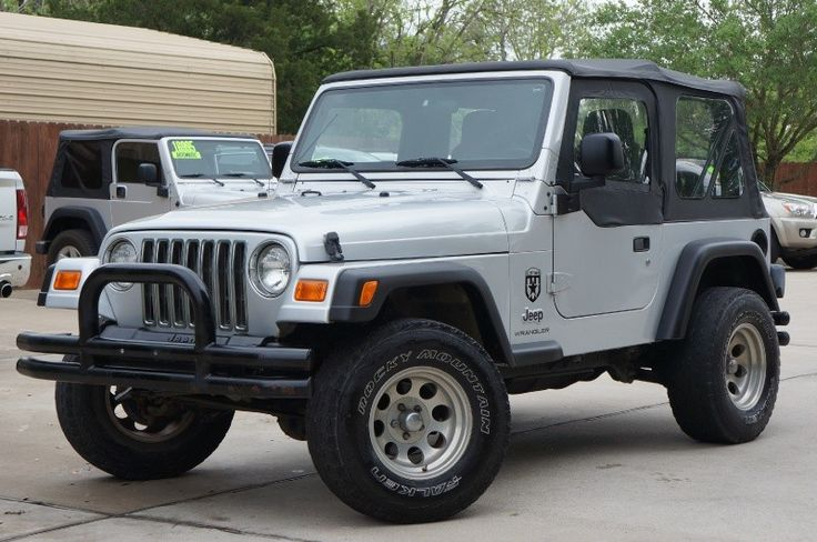 2003 Silver Jeep Wrangler - 126k Miles, Soft Top w/Half Doors, 5-Speed Manual Transmission, More Photos--- http://www.selectjeeps.com/inventory/view/9122521/2003-Jeep-Wrangler-2dr-X-League-City-TX