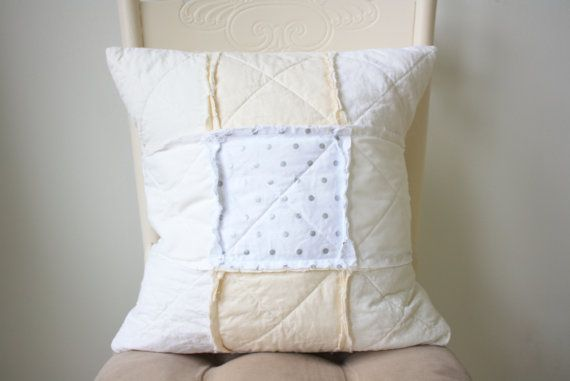 White Cushion Cover  Shabby Chic Cushion  Neutral Nursery