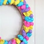 Easter wreath made with Peeps! Let them get hard, they are easier to work with. You can spray paint with clear paint to prevent the sugar from falling off, especially if you are planning to hang on your door.