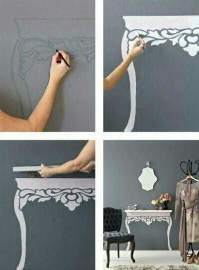 I love this idea! Stenil in pattern & hang shelf for a beautiful, space-saving Optical illusion!