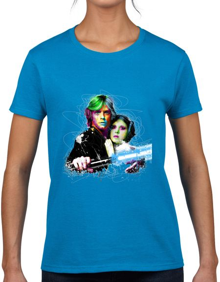 STAR WARS LUKE AND LEIA LADIES T-SHIRT  We have awesome T-shirts, and this colorful Luke and Leia T-shirt is definitely one of these! This piece is only sold by Custitem. Wear this Star Wars T-shirt and be unique among your friends.