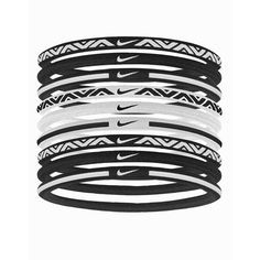 Nike Elastic Hairband 9-Pack (26 CAD) ❤ liked on Polyvore featuring accessories, hair accessories, accessories sport, sports fashion, womens-fashion, hair band headband, nike headband, nike, ponytail hair ties and nike hairband