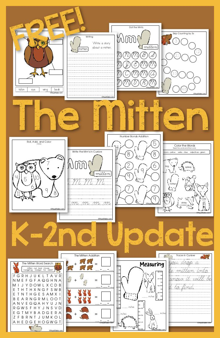 Free printables to go with the book The Mitten!  For Kindergarten, first, and second grades.