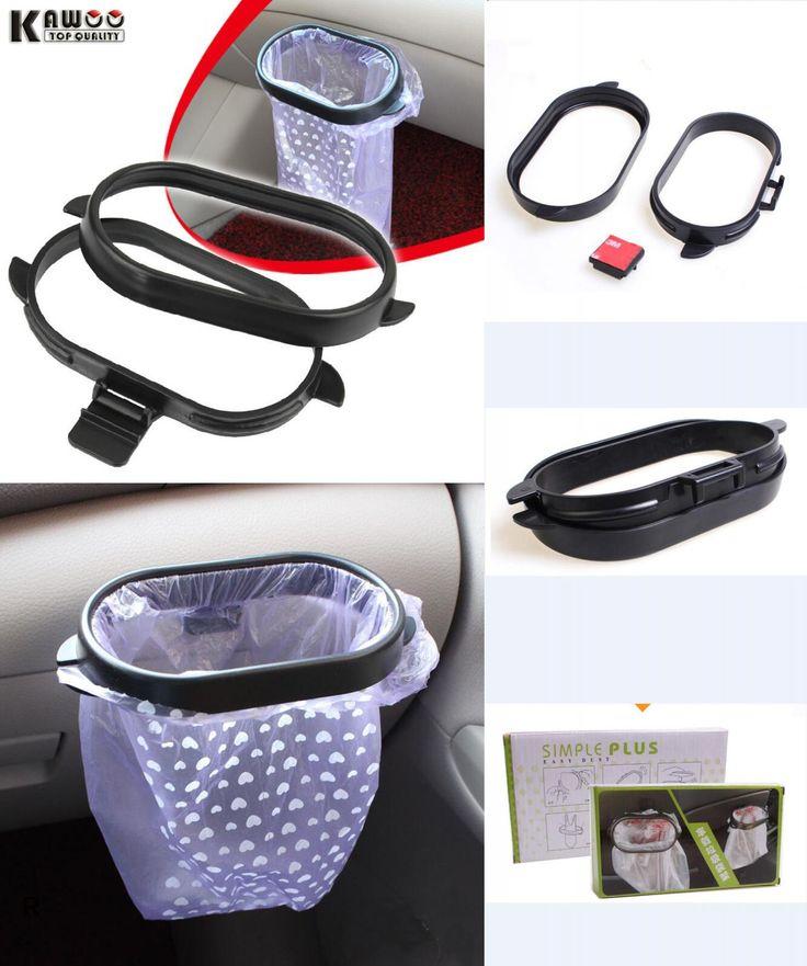 [Visit to Buy] KAWOO Car Trash Bag Rack Auto Accessories Car Styling hanger Vehicle Frame Garbage Bag Holder Portable 1Set #Advertisement