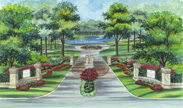 This is a rendering of what the entrance will look like to for Entrance landscape design