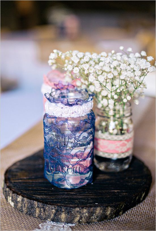 lace mason jar centerpiece @weddingchicks
