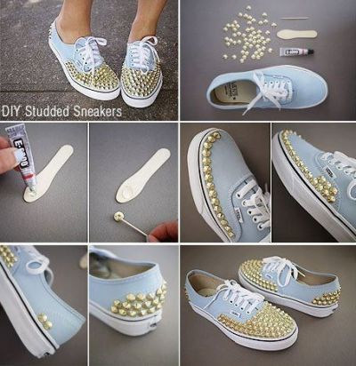 Diy studded shoes this would look nice with black or white with the gold stuffs you can arrange the studs however you like. Xox