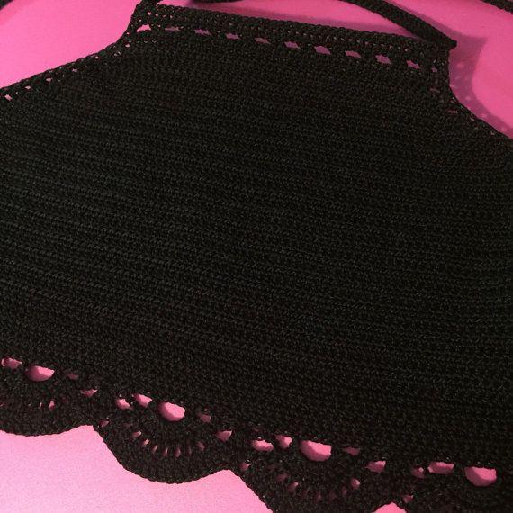 Crochet Halter Top Crop Top With Big Shell Border by CrochetKyra
