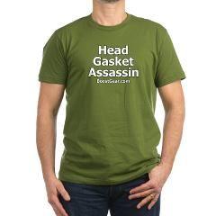 Head Gasket Assassin - Men's Fitted T-Shirt> Head Gasket Assassin White on Black> BoostGear.com