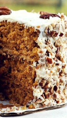 Caramel Pumpkin Italian Cream Cake - This looks very yummy and the caramel filling looks especially interesting :)