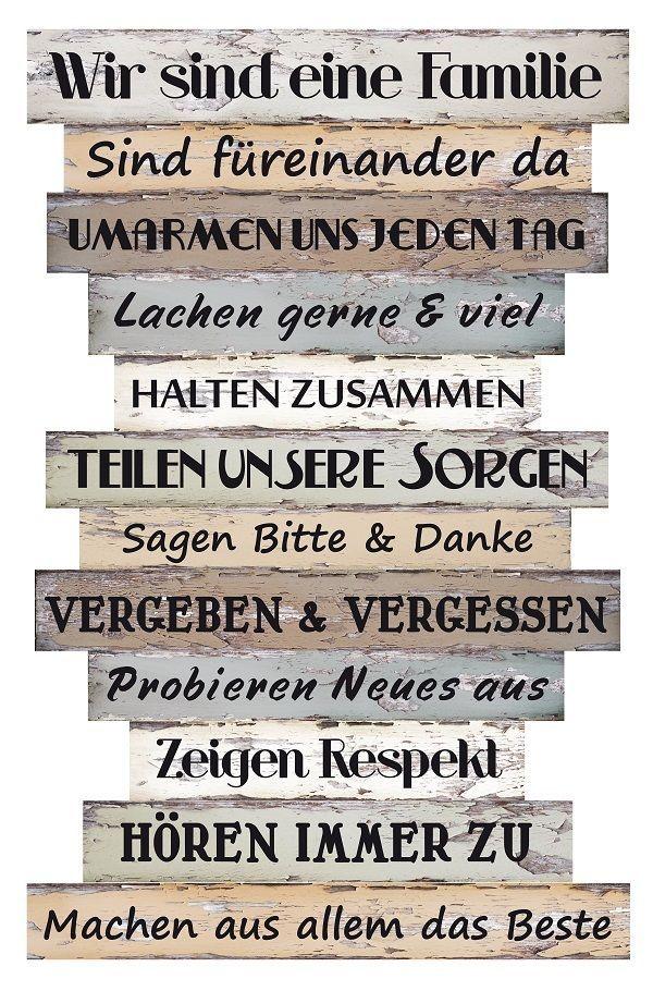 Wandbild Dekoschild Familienregeln Holz Bild Deko Sprüche Dekoration Schild   eBay