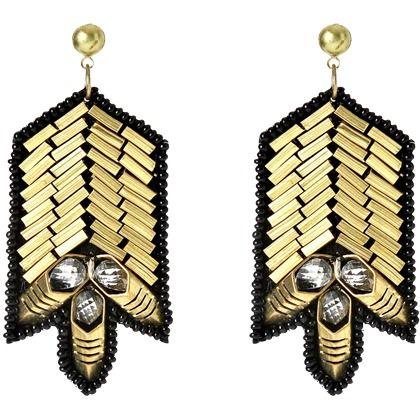 Modische goldene Ohrringe als echte Hingucker! ♥ Ab 12,95€ ♥ Hier kaufen: http://www.stylefru.it/s93994 #Ohrringe #Gold #Schwarz #Steine #Schmuck