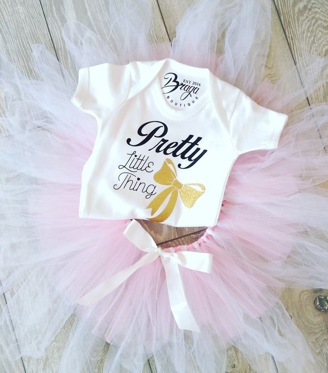 Pretty Little Thing - Luxury Babygrow - Glitter Bow Design £11.99
