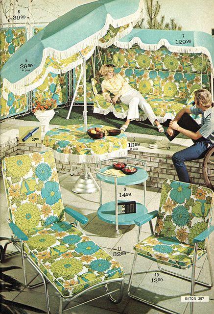 Far out! Flower power mod backyard patio from 1970s catalog