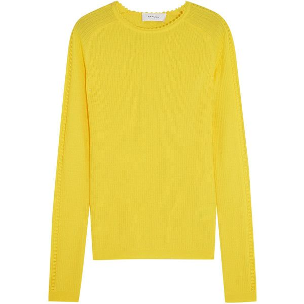 Carven Pointelle-trimmed ribbed wool sweater (£195) ❤ liked on Polyvore featuring tops, sweaters, yellow sweater, ribbed top, cut-out tops, yellow long sleeve top and cut out long sleeve top