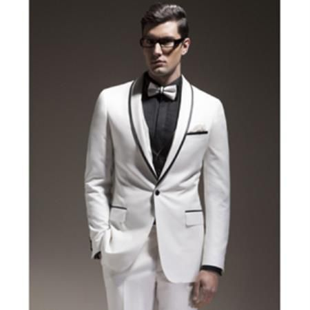 mens suits jackets trimmed in white   PN36 Mens White Tuxedo Dinner Jacket Suit Shawl Collar with Black trim ...