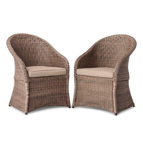 Holden 2 Piece Wicker Patio Dining Chair Set Threshold Tan