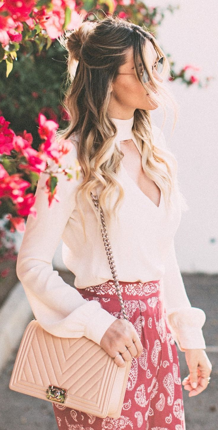 #spring #fashion White Top & Red Printed Skirt & Pink Leather Quilted Shoulder Bag