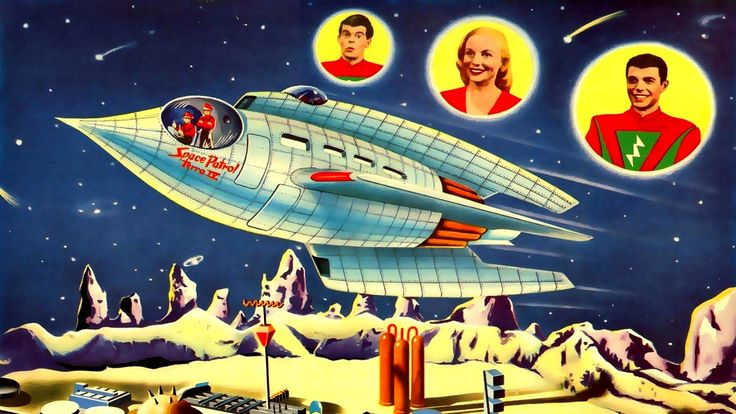 """Cadet Happy, Carol Carlisle, and Commander Buzz Corry from 50s TV serial """"Space Patrol""""."""