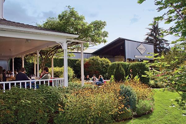 Argyle Winery: The tasting room's landscaped grounds include a porch where guests can relax and savor their wines!