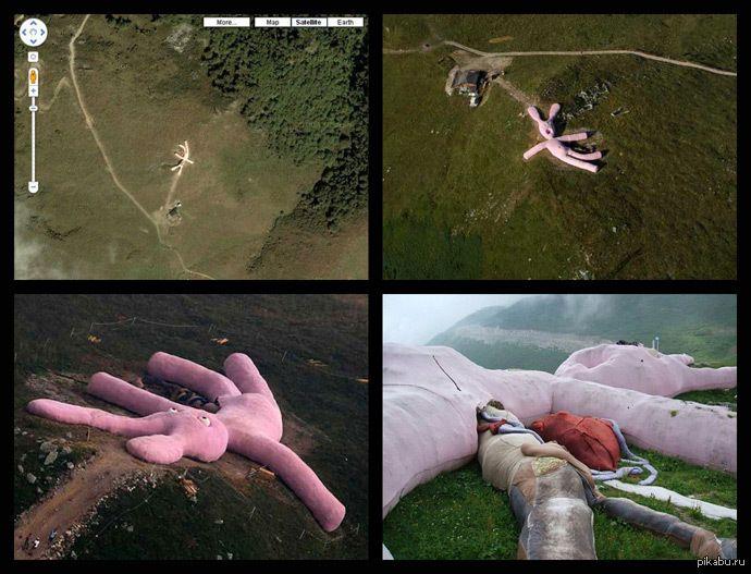 """Гигантский розовый кролик на просторах Италии [s.pikabu.ru] В Альпах лежит 60ти метровый вязаный кролик, который по легенде упал из космоса и разбился. Координаты:+44° 14' 39.05"""" +7° 46' 10.59"""""""