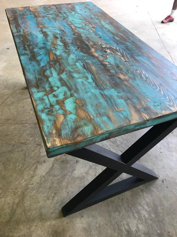Teal Aqua Reclaimed Wood Dining Table Or Desk Etsy Reclaimed