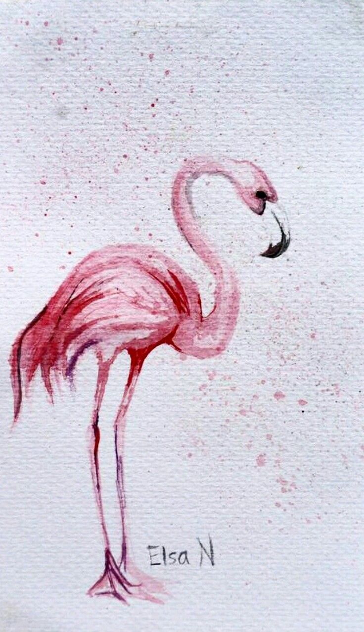"""Flamingo"" Watercolor painting by @elsa_creative on instagram"