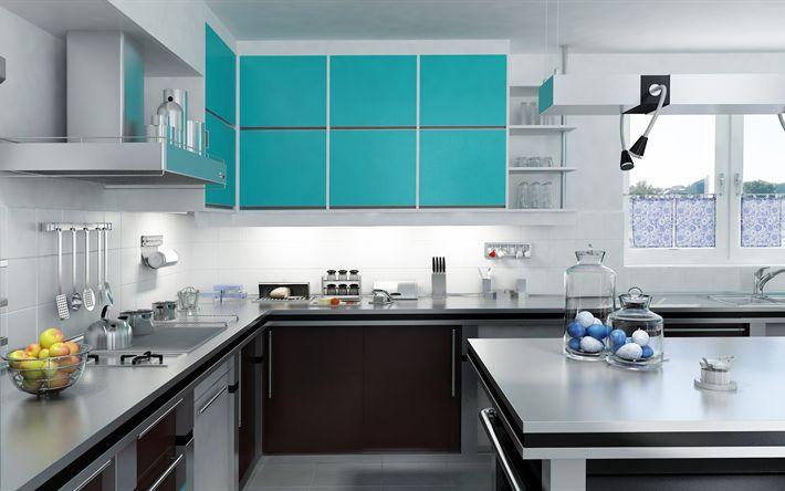 Download wallpapers modern kitchen design, blue lockers, kitchen design, modern stylish interior