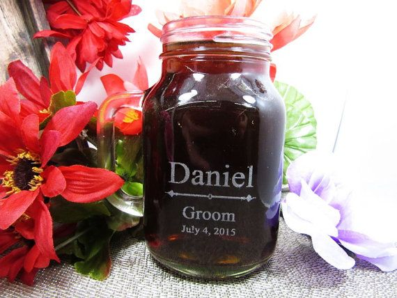 Personalized Wedding Mason Jar with Handle  by weddingpartygifts