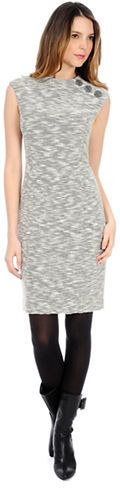 $143, Grey Knit Sheath Dress: Kay Unger Marled Knit Sheath Dress. Sold by Lord