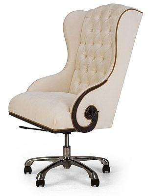"""The Chairman"" A commanding high-backed wing chair with classic tufting & decorative carved detailing"