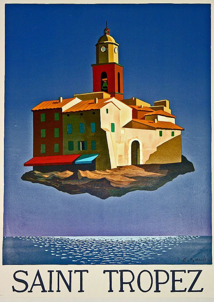 ✨ Emile Gaud - Saint Tropez, ca 1980, Lithographie, Karcher