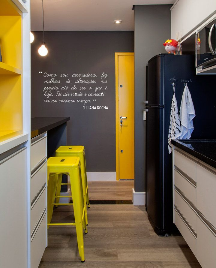 Black, yellow, and gray kitchen love!