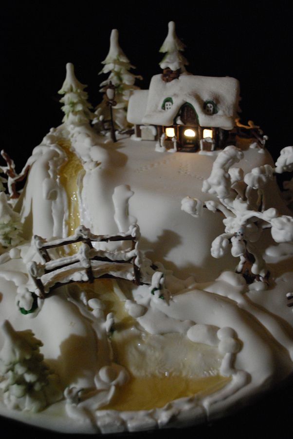 Winter house on the hill — Christmas, gingerbread house, cookie house, Christmas house