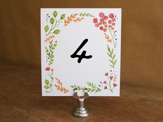 Printable Table Number - Water Color Flowers - Floral Table Number Template - Wedding Table Number Printable - Table Number Download PDF