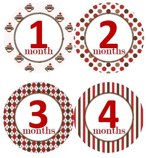 Baby Monthly Milestone Growth Stickers Red and Brown Sock Monkey Nursery Theme Baby Shower Gift Baby Photo Prop